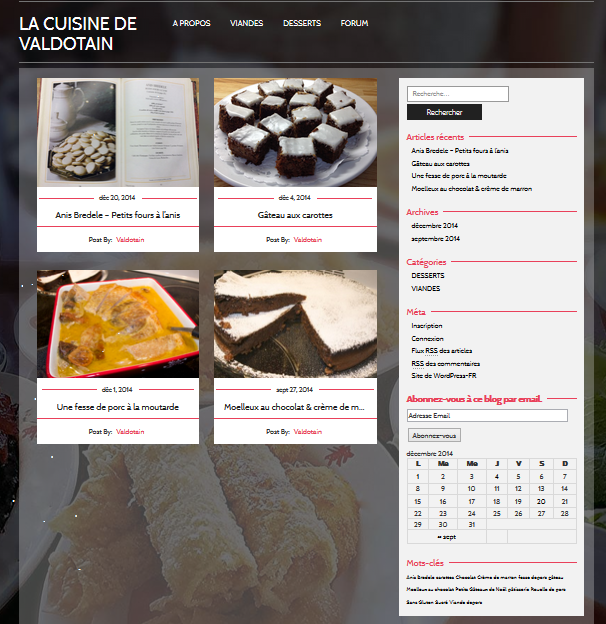 La page d'accueil de mon site de recettes